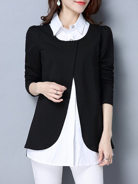Blouse Casual Size Tiered Plus Winter line A Black vqwRAF
