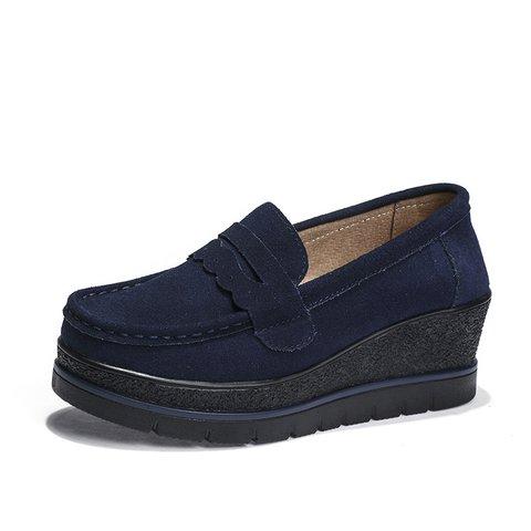 Women Split Leather Platform Slip On Loafers