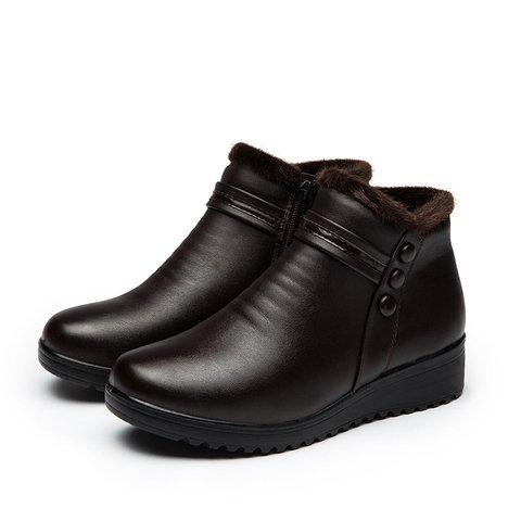 Waterproof Zipper Leather Platform Outdoor Boots