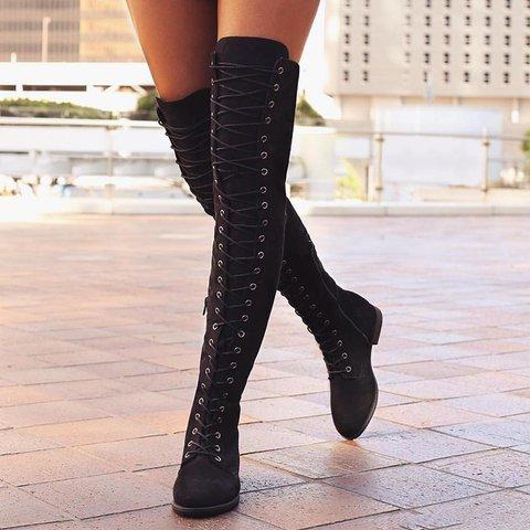 Zipper Winter Low Heel Faux Suede Knee Boots