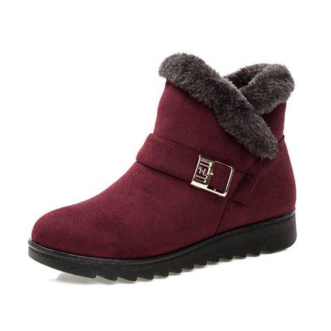 Suede Wedge Heel Fleece Lined Buckle Slip On Boots