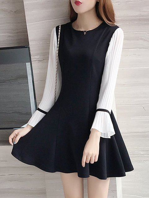Black A-line Women Daily Chiffon Sweet Paneled Plain Elegant Dress