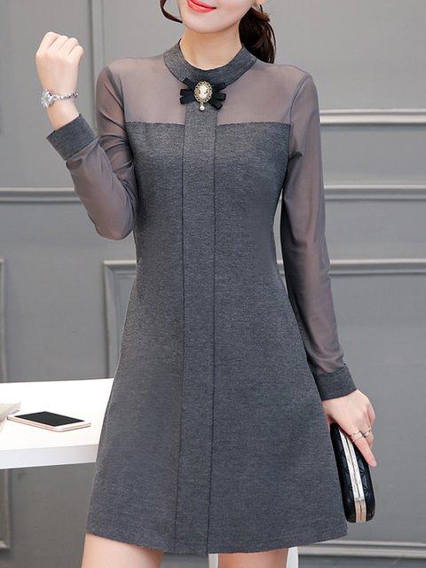 Stand Collar  A-line Women Work Long Sleeve Cotton Elegant Dress