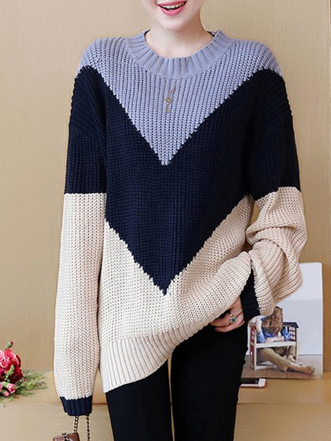 Casual Crew Neck H-line Long Sleeve Plus Size Sweater