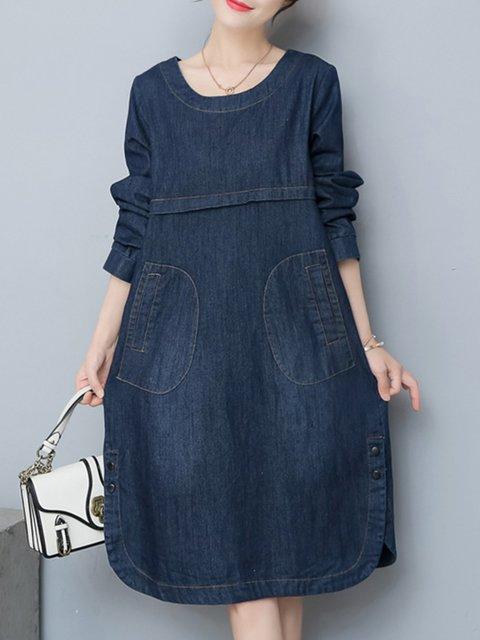 095e4907609 Dark blue Shift Women Daily Denim Casual Long Sleeve Paneled Plain Casual  Dress