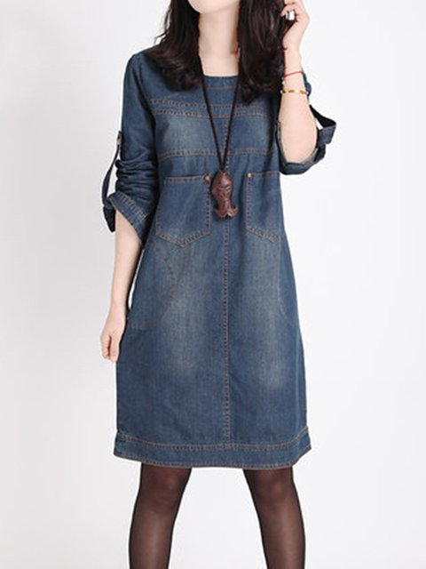 Dark blue Shift Women Casual Denim Long Sleeve Buttoned Plain Casual Dress