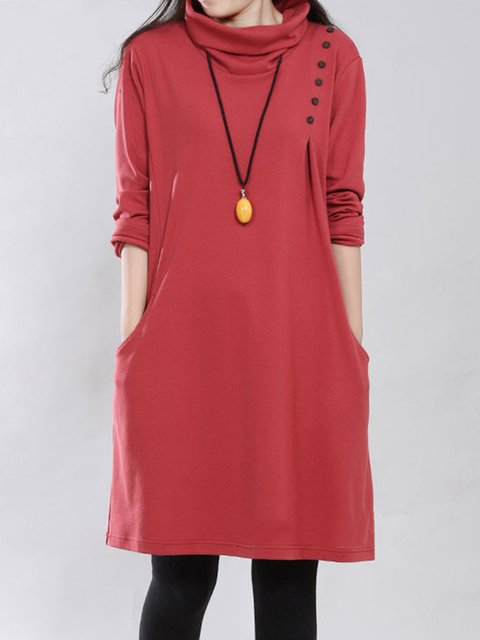 Shift Women Daily Casual Long Sleeve Solid Casual Dress