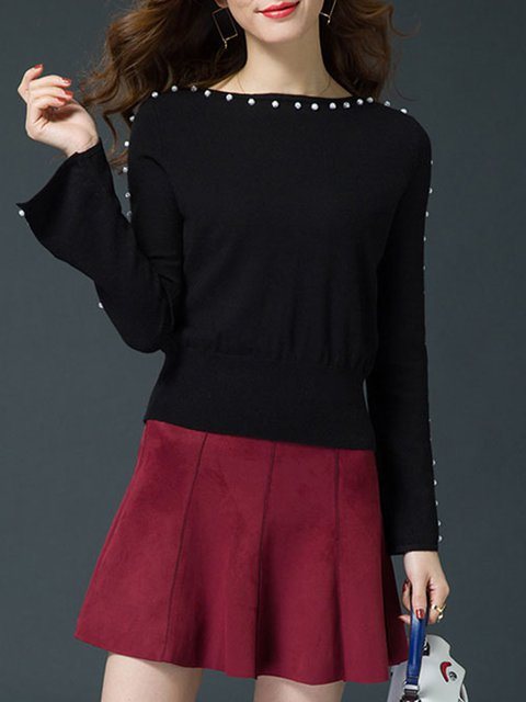Beaded Bateau/boat Neck Casual Plus Size Knitted Sweater