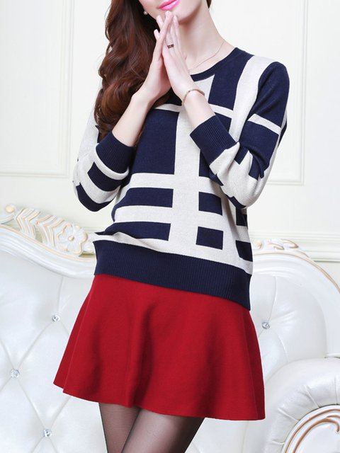 Long Sleeve Knitted Crew Neck Plus Size Sweater