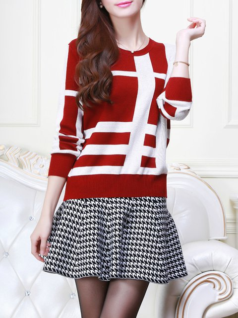 Plaid Knitted Long Sleeve Plus Size Sweater