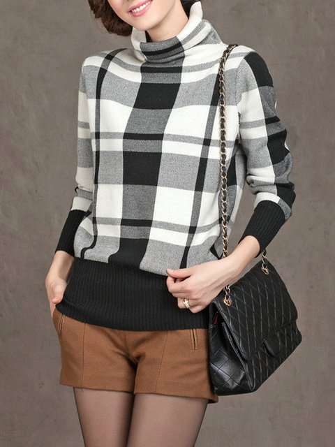 Plaid Casual Knitted  Sweater