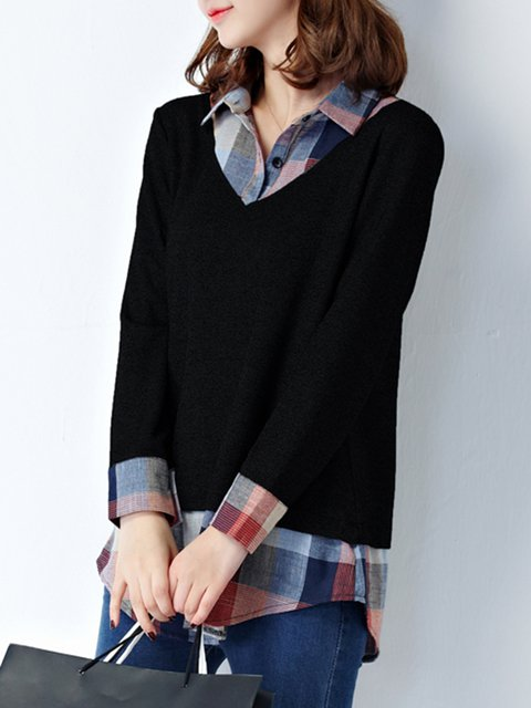 Blouse Polyester Checkered Plaid Piece One vqCAwntpC
