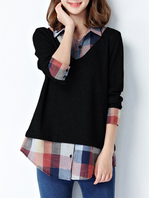 One Polyester Blouse Piece Plaid Checkered nFUBzrfnqw