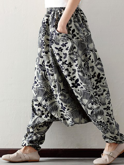 Printed Casual Floral Linen Wide Leg Pants