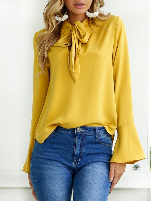 Yellow V Neck Frill Sleeve Solid Bow Blouse