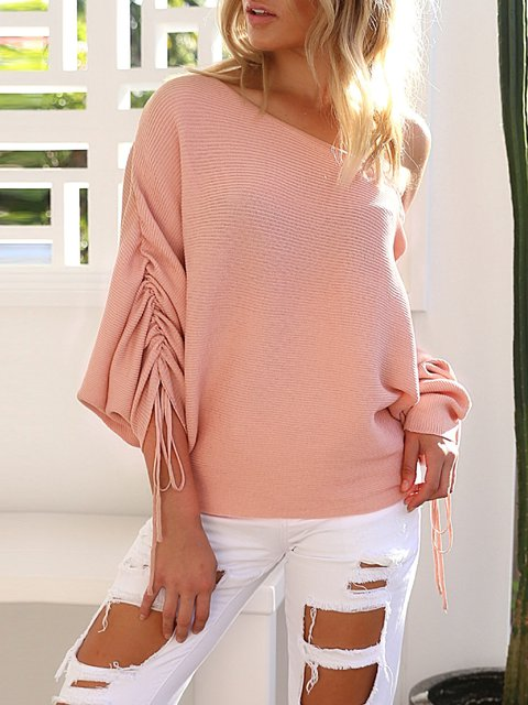 Pink Off Shoulder Knitted 3/4 Sleeve Sweater