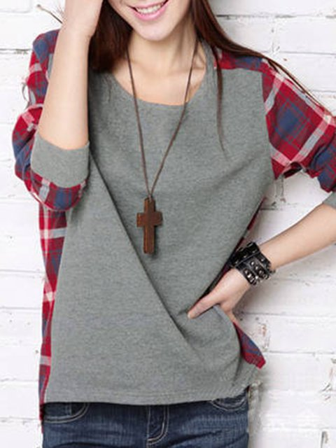 Gray Crew Neck Cotton Casual T-Shirt