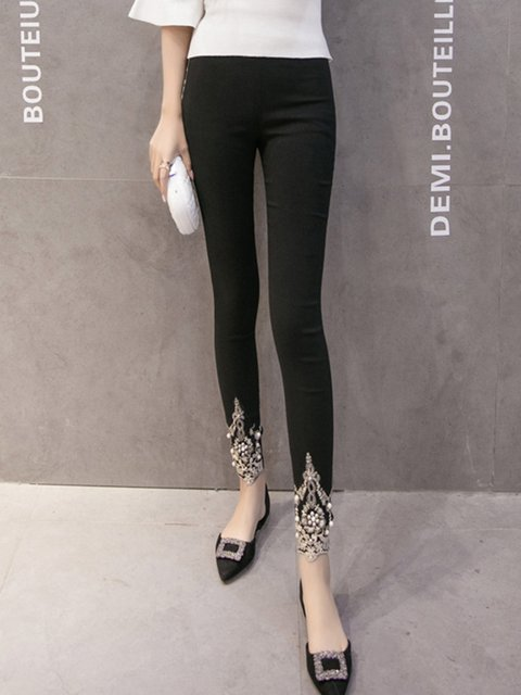 Stylish Casual Polyester Beaded Legging
