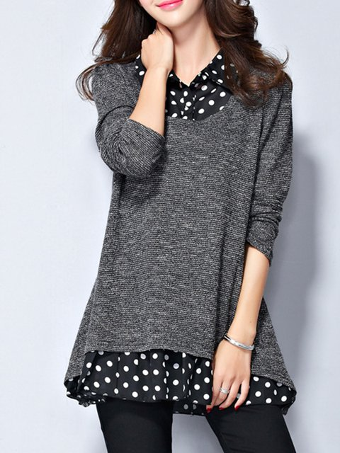 Gray Polka Dots Shirt Collar Winter Paneled Blouse