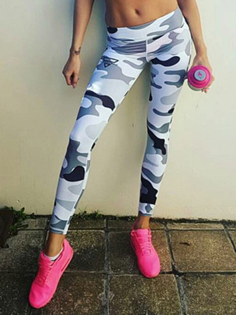 Multicolor Printed Casual Polyester Legging
