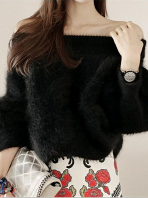Thicker Off Shoulder Solid Casual Fluffy Warm Sweater
