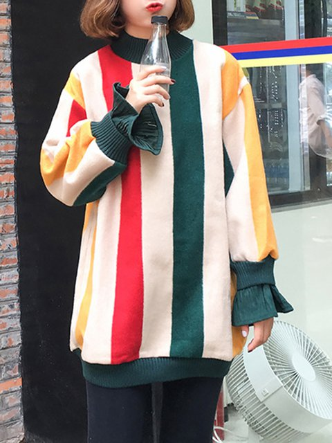Paneled Knitted Long Sleeve Stripes Sweater