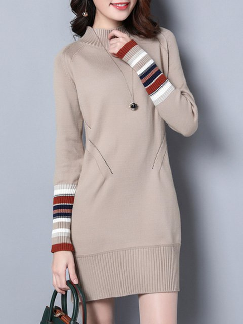 Fashion Casual Turtleneck Paneled Knitted Long Sweater