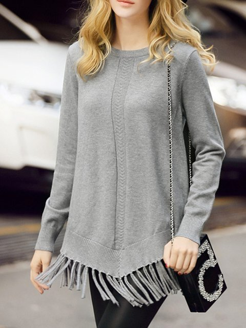 Stylish Casual Tassel Solid Knitted Crew Neck Sweater