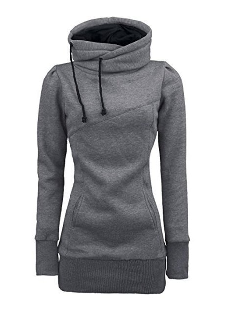 Simple Solid Slim Casual Pockets Hoodie