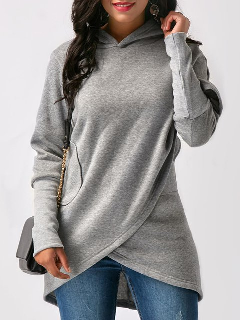 Sleeve Fashion Casual Solid Asymmetric Long Hoodie affvrHn