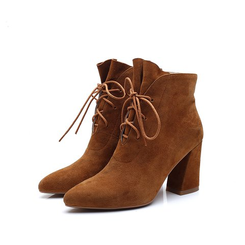 Casual Chunky Heel Lace-up Boots