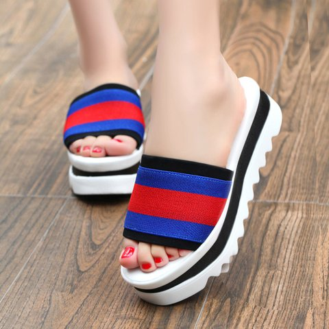 Strips Canvas Casual All Season Platform Slippers