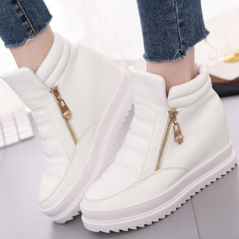 Waterproof Solid Zipper Athletic PU Non Slip Sneakers