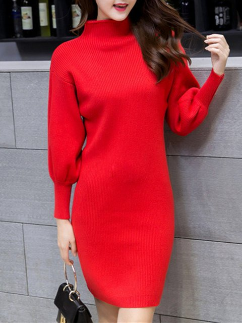 Turtleneck  Sheath Women Daily Balloon Sleeve Sweet Knitted Plain Casual Dress