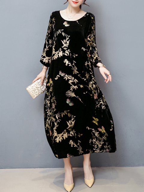Black Shift Women Daily Long Sleeve Casual Printed Leaf Elegant Dress