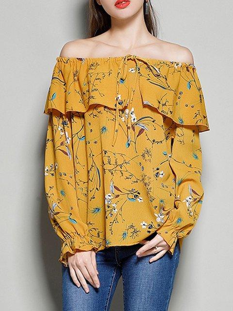 Sweet Blouse print Long Off Shoulder Floral Sleeve qc1ggOtv