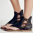 Plus Size Lace-up PU Flip-flops Sandals with Zipper