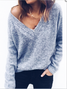 Solid V neck Casual Winter Knitted Plus Size Paneled Sweater