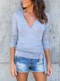 Surplice Lace Up Plain T-Shirts