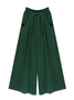 Plain Casual Pockets Cotton Emerald Green Pants