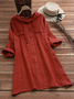 Woman Solid Color Drawstring Hooded Long Sleeve Linen Dresses