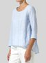 Women Paneled Casual Solid 3/4 Sleeve Blouses