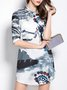 Stand Collar Gray Dresses Shift Casual Graphic Dresses