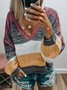 V Neck Multicolor Striped Knitted Sweaters Plus Size Color Block Pullovers Jumpers