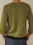 Plain Long Sleeve Knitted Cotton-Blend Sweater