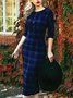 Plaid Sweet 3/4 Sleeve Peter Pan Collar Dresses