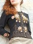 Cotton-Blend Long Sleeve Embroidery Sweater
