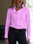 Long Sleeve Cotton-Blend Paneled Elegant Shirts & Tops