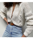 Long Sleeve Knitted Plain V Neck Sweater