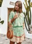 Shift 3/4 Sleeve Boho Tie-Neck One-Pieces